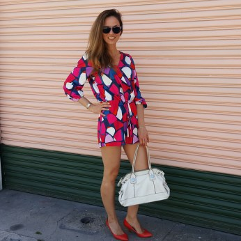 Cuddy Studios Geometric Pattern Romper, Banana Republic Bag, Tommy Hilfiger Aviator Sunglasses, ALDO Red Heels, Sixties Chic
